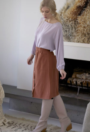 Sustain: Button-Up French Seam Skirt, XS