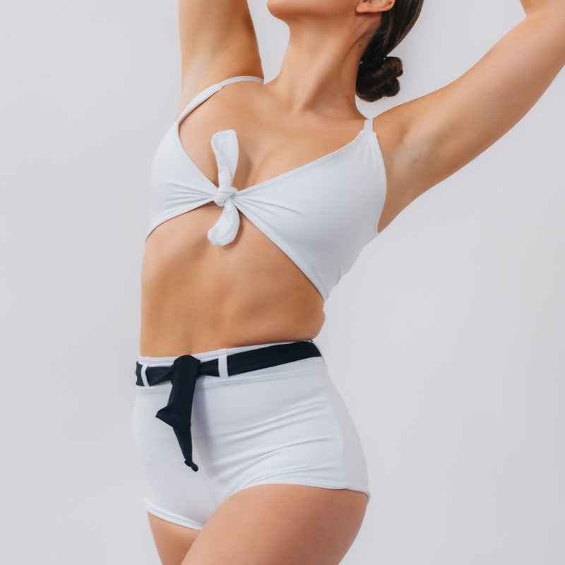 Two-Tone Belted High-Waisted Bottoms