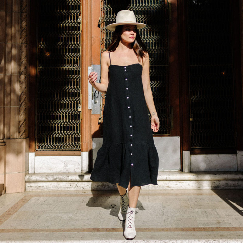 Strappy Button-Up Dress