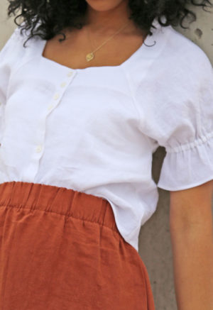 Square Neck Button-Up Top