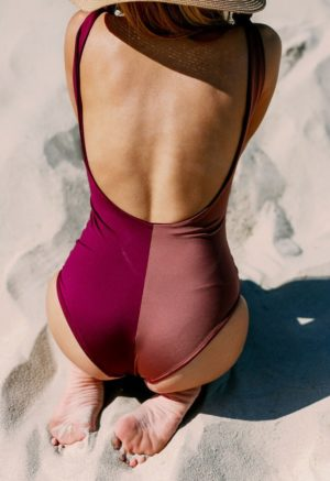 Two-Tone Shoulder Tie One Piece