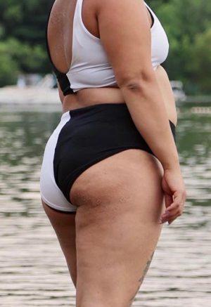 Two-Tone High-Waisted Bikini Bottoms
