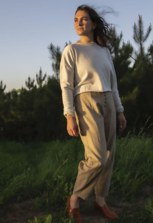 Front view of straight size model in Artist Pant in Nomad Hemp.