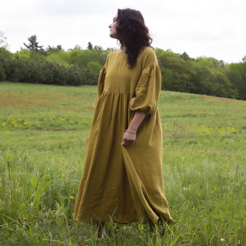 Front view of straight size model in Oversized Dress in Avocado Linen.