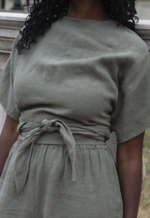Short Sleeve Tie Top