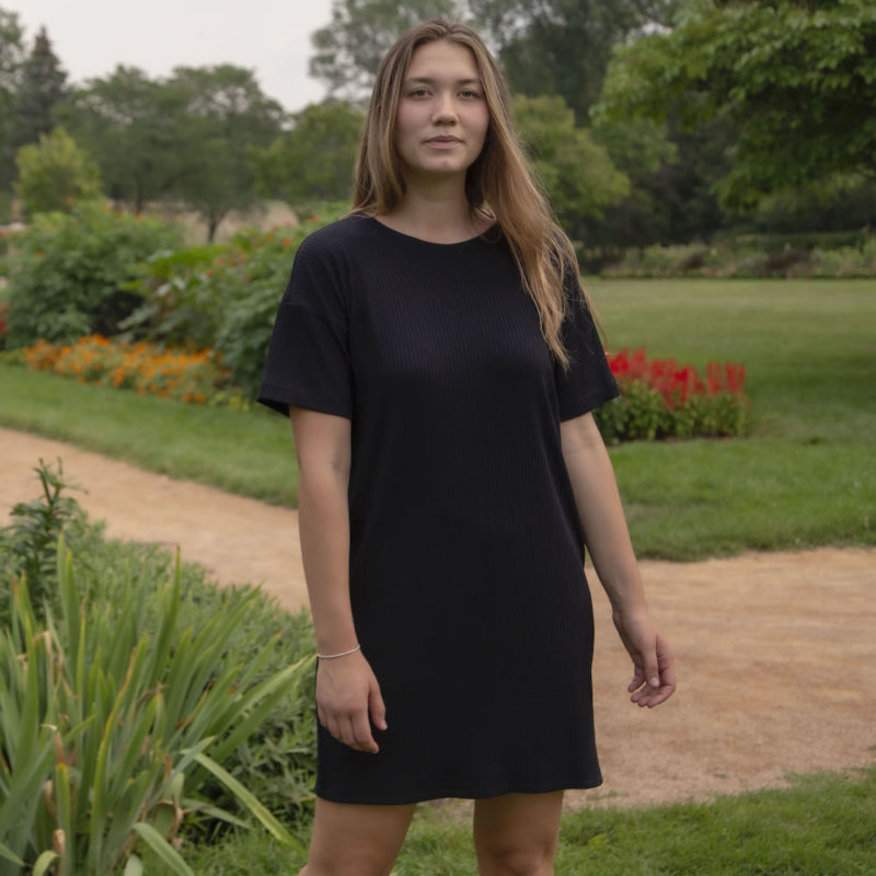 Front view of straight size model wearing Tee Dress in Black Rib.