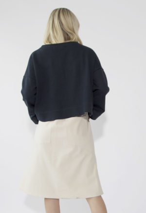 Sustain: Button-Up French Seam Skirt, M