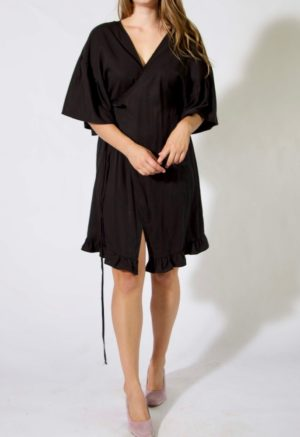 Front facing image of straight size model wearing Short Ruffle Wrap Dress in Black Lyocell.